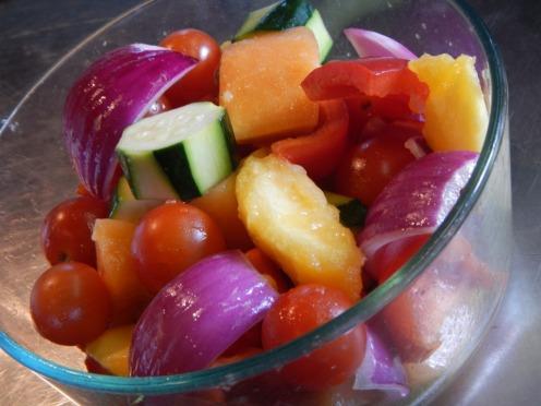 marinating raw veggies
